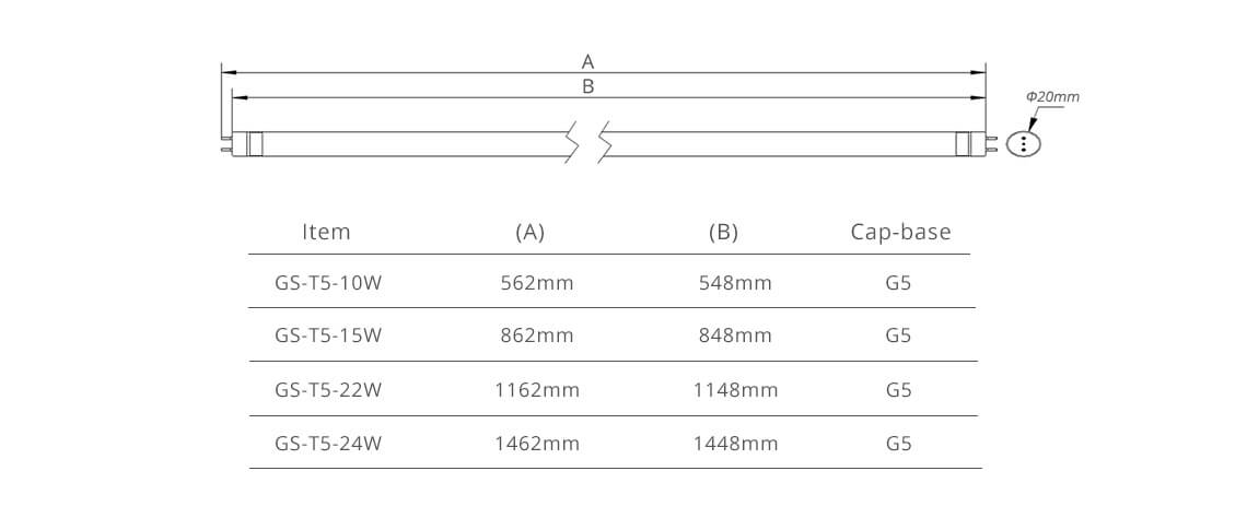 gs led tube light t5 dimension
